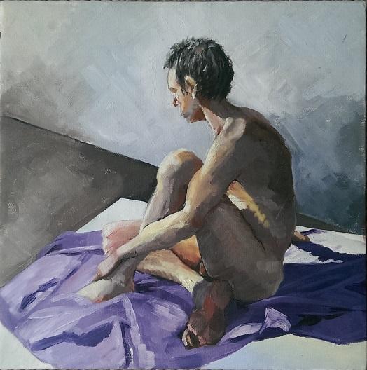 Male on purple rug